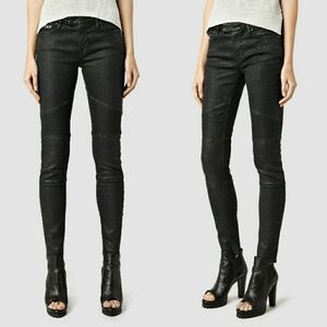 All Saints-Black Coated Biker Skinny Jeans